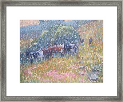 The Cows Are In The Meadow Framed Print