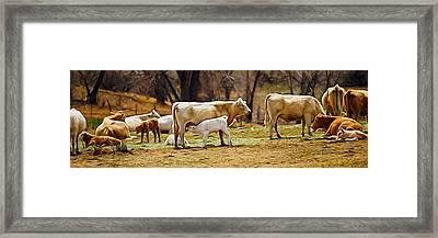 The Cows Panoramic Digital Art Framed Print