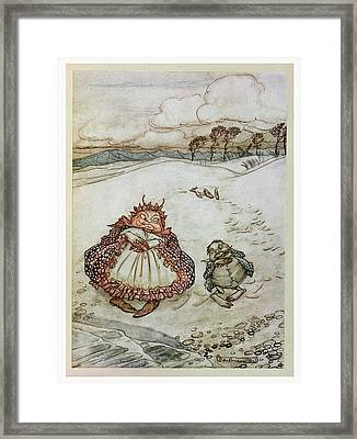 The Crab And His Mother, Illustration From Aesops Fables, Published By Heinemann, 1912 Colour Litho Framed Print
