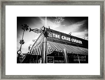 The Crab Cooker Newport Beach Black And White Photo Framed Print