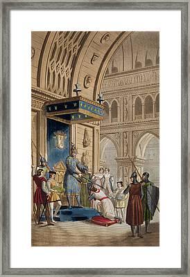 The Creating Of A Knight Templar Framed Print by Italian School