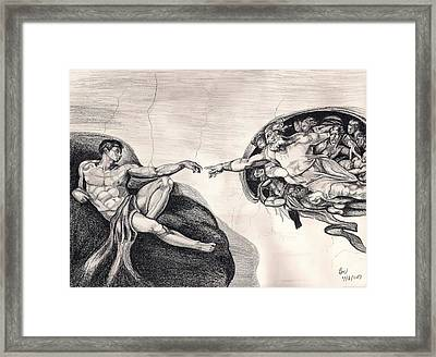 The Creation Of Adam A Redraw Framed Print by Beverly Marshall