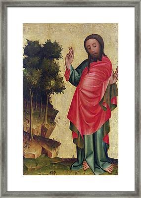 The Creation Of Dry Land And Vegetation, Detail From The Grabow Altarpiece, 1379-83 Tempera On Panel Framed Print