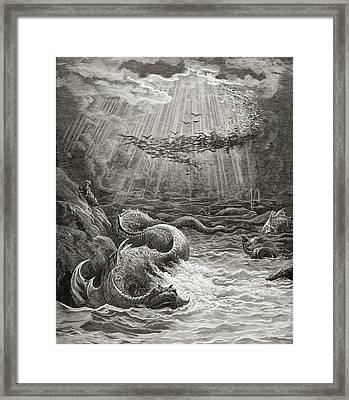 The Creation Of Fish And Birds Framed Print by Gustave Dore
