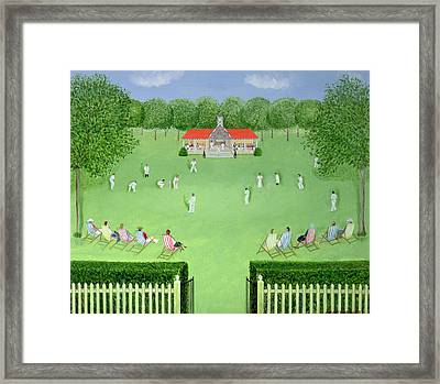 The Cricket Match, 1981 Oil On Board Framed Print
