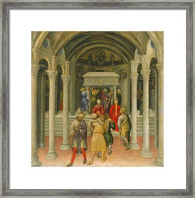The Crippled And Sick Cured At The Tomb Of Saint Nicholas Framed Print by Gentile da Fabriano