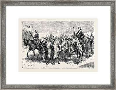 The Crisis In Egypt A Detachment Of Recruits Framed Print by Egyptian School