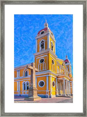 The Cross Beside The Golden Cathedral - Granada Framed Print by Mark E Tisdale