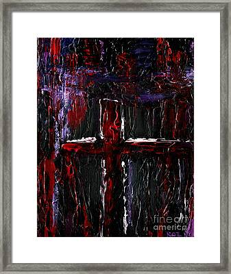 Framed Print featuring the painting The Crossroads #1 by Roz Abellera Art