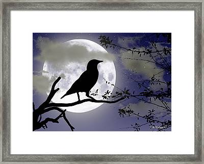 The Crow And Moon Framed Print by Brian Wallace