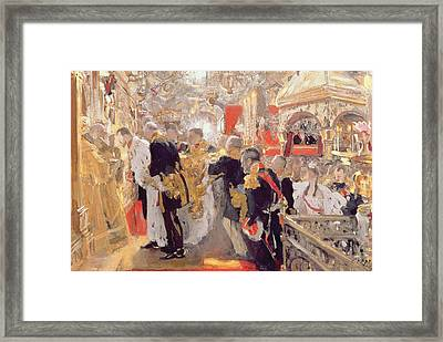 The Crowning Of Emperor Nicholas II 1868-1918 In The Assumption Cathedral, 1896 Oil On Canvas Framed Print