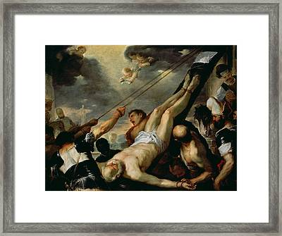 The Crucifixion Of Saint Peter, C.1660 Oil On Canvas Framed Print by Luca Giordano