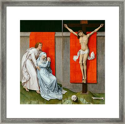 The Crucifixion With The Virgin And Saint John The Evangelist Mourning Framed Print by Rogier van der Weyden