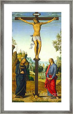 The Crucifixion With The Virgin Saint John Saint Jerome And Saint Mary Magdalene Framed Print