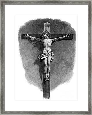 The Crucifixion Woodcut Woodblock Print Framed Print
