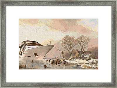 Framed Print featuring the painting The Cruiseboat by Nop Briex