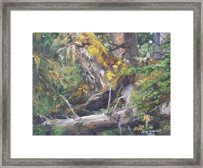 Framed Print featuring the painting The Crying Log by Lori Brackett