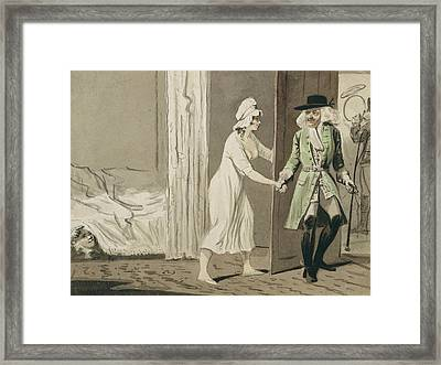 The Cuckold Departs For The Hunt Framed Print by Isaac Cruikshank