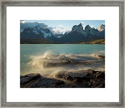 The Cuernos Del Paine R From Lake Framed Print by Panoramic Images
