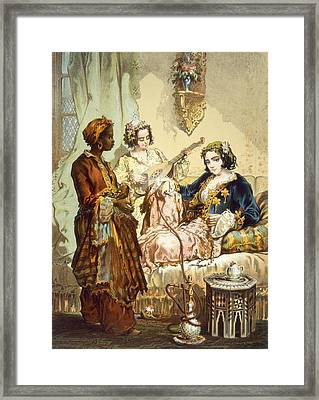 The Cup Of Coffee Two Women Taking Framed Print by Amadeo Preziosi