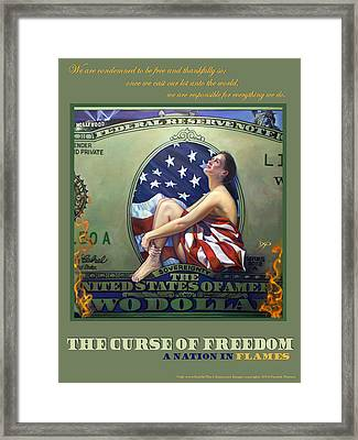 The Curse Of Freedom A Nation In Flames Framed Print by Patrick Anthony Pierson