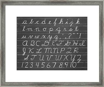 The Cursive Alphabet Framed Print by Chevy Fleet