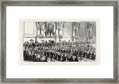 The Cutlers Feast At Sheffield, Uk Banquet In The Cutlers Framed Print by English School