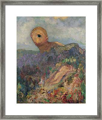 The Cyclops, C.1914 Oil On Canvas Framed Print by Odilon Redon