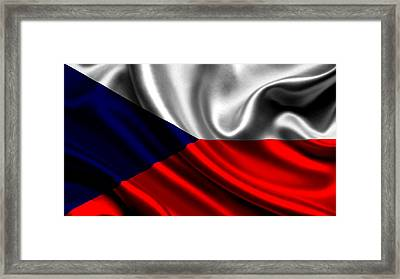 The Czech Republic Flag Framed Print by VRL Art