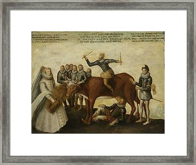 The Dairy Cow, The Dutch Provinces, Revolting Framed Print by Litz Collection
