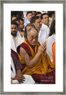The Dalai Lama At Gandhis Raj Ghat - New Delhi Framed Print by Craig Lovell