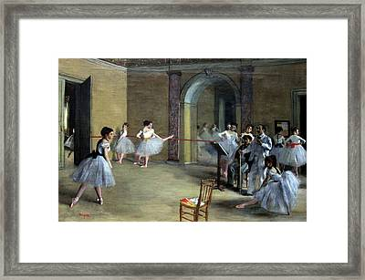 The Dance Foyer At The Opera On The Rue Le Peletier Framed Print by Georgia Fowler