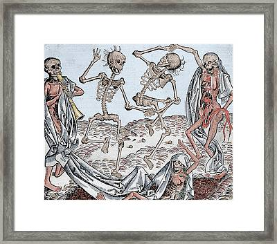 The Dance Of Death Framed Print by Michael Wolgemut