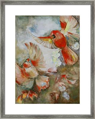 The Dance Of The Cardinals Framed Print by Susan Hanlon