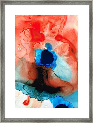 The Dancer - Abstract Red And Blue Art By Sharon Cummings Framed Print