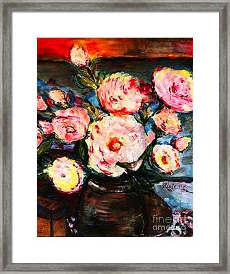 Framed Print featuring the painting The Dancer's Peonies by Helena Bebirian