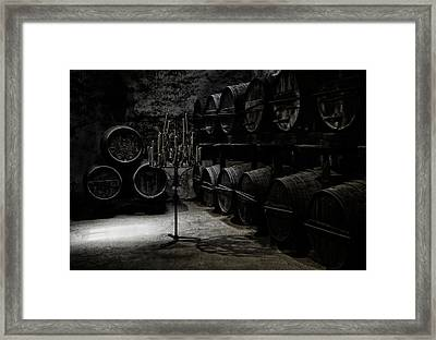 The Dark Atmosphere Of An Old Wine Cellar Framed Print