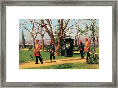 The Daughter Of The English Ambassador Riding In A Palanquin Framed Print
