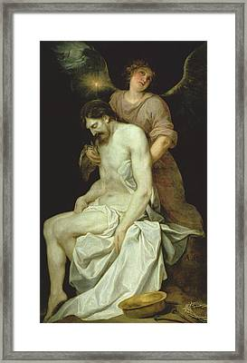The Dead Christ Supported By An Angel Framed Print by Alonso Cano