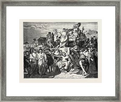 The Death Of Caesar Framed Print by Litz Collection