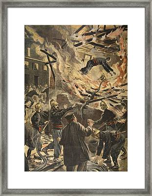 The Death Of Fireman Bailly In Bourges Framed Print