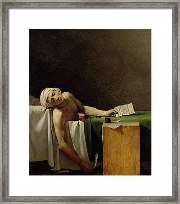 The Death Of Marat, After The Original By Jacques-louis David 1748-1825 Oil On Canvas Framed Print