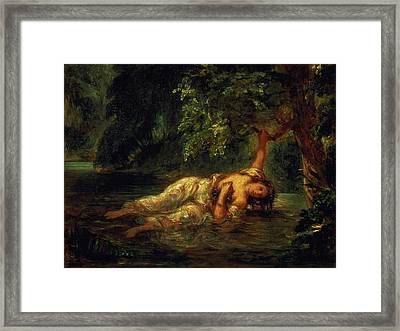 The Death Of Ophelia, 1844 Framed Print by Ferdinand Victor Eugene Delacroix