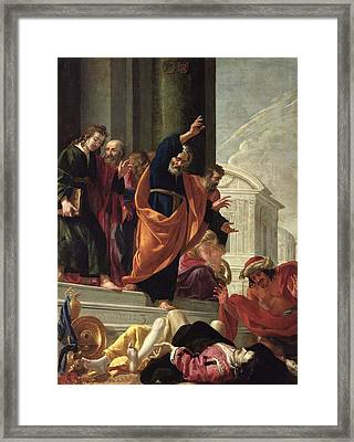 The Death Of Sapphira And Ananias, C.1632 Oil On Canvas Framed Print by Aubin Vouet