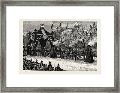 The Death Of The Emperor William,the Procession Passing Framed Print
