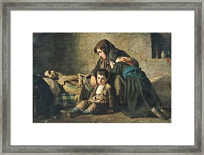 The Death Of The Pauper Oil On Canvas Framed Print by Alexandre Antigna