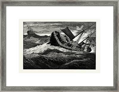 The December Gales On The Atlantic The German Steamship Framed Print by American School