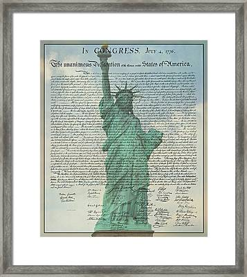 The Declaration Of Independence - Statue Of Liberty Framed Print by Stephen Stookey