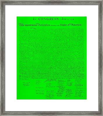 The Declaration Of Independence In Green Framed Print by Rob Hans