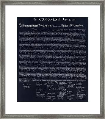 The Declaration Of Independence In Negative  Framed Print by Rob Hans